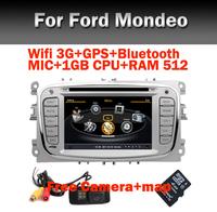 Free Camera+Map Car Radio Bluetooth for Ford Mondeo Focus 2 3 S-max Cmax Wifi 3G GPS Bluetooth Radio rds USB IPOD Steering wheel