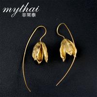 S925 Silver earrings Thai Thailand Chiang Mai fruit pod earrings handmade long stitch Flower Earrings