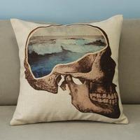 "Beige Cool Skull Cotton Blend Linen Pillow Case Home Decor Cushion Cover Square 18"""