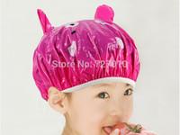 Animal  Frog duck  dolphins PVC Kawayi  waterproof children shower cap hair bonnet  hat satin bonnets 5pcs/lot