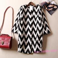 Brand Knitting Geometric WAVE Pattern Flare Sleeve Women Coat, Loose Long Black White Casual Lady Outerwear Overcoat Y561