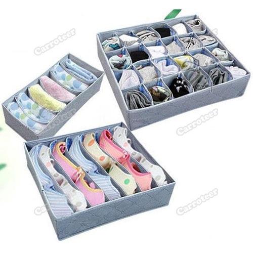 carroteer Best choice 6 7 20 Case Bamboo Charcoal Storage Organizer Box Bag Underwear Bra Sock Set 05 Latest Style(China (Mainland))
