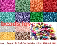 Pick 14 color 8mm ABS Imitation Pearl beads Round Beads 300pcs/lot Free shipping (w02764)