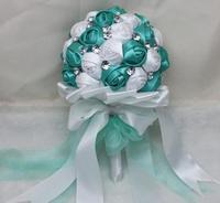 Hand Made Top quality beaded Brooch silk Flower bride Bridal wedding bouquet bridesmaid Europe US rhinestones artificial flower