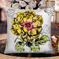 New 45*45cm Yellow Butterflies printing Double Jacquard Technology sofa cushion cover set pillowcases seat  cushions home decor