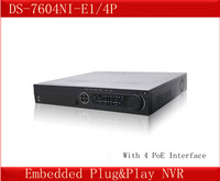 DS-7604NI-E1/4P=DS-7604NI-SE/P  4 PoE Interface,Embedded Plug&Play NVR,1 SATA,Up to 4TB ,Hikvision English NVR