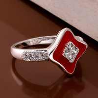 Size 8 New style Fashion Jewelry 925 Sterling Silver womens White Zircon Red painting Rings party gift box KR453