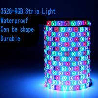 5M/lot IP65 Waterproof 3528 RGB LED Strip Light 24/44key RGB Remote Control + 12V 2A Power Supply(EU/US/AU plug) free shipping