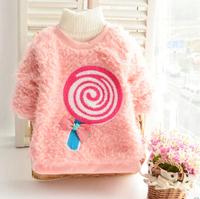 2014 Free Shipping Autumn And Winter Lollipops Pattern Long Sleeve Thickening Sweatshirts Plus Velvet Baby Girl Coat Hoddies