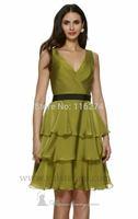 Women A-Line V-Neck Bridesmaid Short Dress Gowns Knee Length Party Prom Dresses