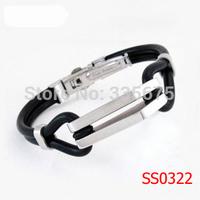 Wholesale 2014 New HOT Sale Fashion Man jewelry 316L Stainless Steel Men Bracelet Genuine Silicone Bracelets Bangles Gift 1pcs