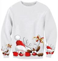 New 2015 Women Casual Cardigan Harajuku Christmas Deer Print White Sweatshirt Women Pullover