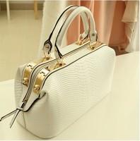 2014 for Crocodile fashion white big bag doctors bag women's handbag female bags