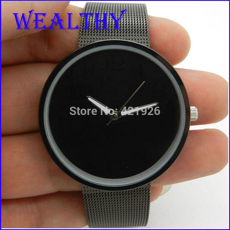 Black Metal Iron Net Web Stainless Steel Watch Mesh Band Fashion Simple Quartz Wrist Watch Hours Mens Womens Unisex(China (Mainland))