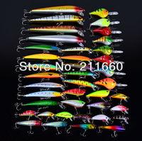 Hot 2015 40pcs/lot fishing lure Mixed 7 models fishing tackle 40 color Minnow lure Crank Lures Mix fishing bait
