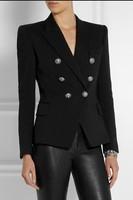 Design brand women blazer ladies suit jacket tops blouse houndstooth sequin beading badge suits