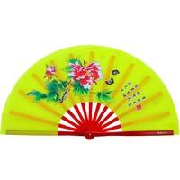 "Sporting 13"" Chinese Tai Chi Fan Fplding Right Kung Fu Tan 33cm Bamboo Peony Pattern Flower Silky Fan Yellow"