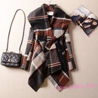 New Elegant Brand Plaid Color Block Belted Women Woolen Cloak Coat, Winter Trendy Striped Lapel With Belt Cape Outerwear Y563