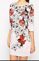 European New Fashion Flowers Print Girl Sweet Dress Half Sleeve O Neck Women Slim Dress YS93324