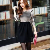 Autumn Korean version of the new Slim striped long-sleeved dress modal child was thin base skirt tutu bud