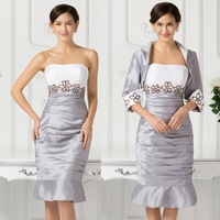 Grace Karin Special Occasion Elegant White&Silver Taffeta Short Mother Of The Bride Dresses With Jacket Wedding Party Dress 6266