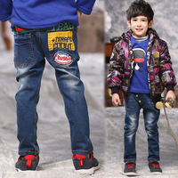 2015 children's kids blue jeans GIRLs Boys stripe tie Jean Child Long Trousers EVERYDAY Casual Long Pant