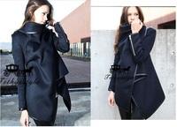 Europe Style Women Winter Woollen Coats Fashion Woolen blue Long Sleeve Thick Jacket