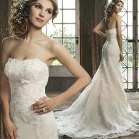 new hotsale luxurious custom made beaded appliqued long train mermaid open back lace wedding dress 2015 Vestido De Noiva