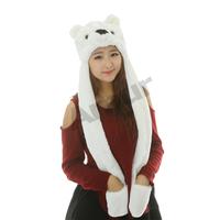 Amur Cartoon Plush Beanie Fleece Winter Warm Animal Bomber Hats scarf gloves bear monkey dog