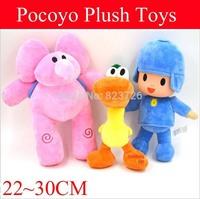 3pcs/Set 22-30CM Pocoyo Cartoon Animals  Stuffed Plush Doll Toys Hobbies Elly & Pato & Pocoyo plush Toy Christmas Gift For Kids