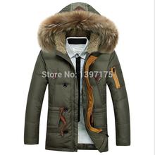 2014 New Men's Winter Down Jacket Fashion Brand Battlefield Long Section Nagymaros Collar Down Jacket Coat Thick Warm(China (Mainland))
