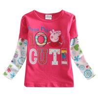 Frozen Dan Peipei pig dress trade children's clothing long sleeve t shirt Princess Peppa Pig  embroidery girls t shirt
