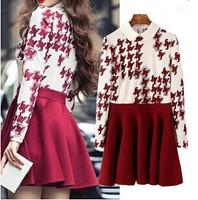 Korean New Fashion Girl Sweet Dress 2 Colors Long Sleeve Peter Pan Collar Women Pleated Dress for Winter Spring YS93268