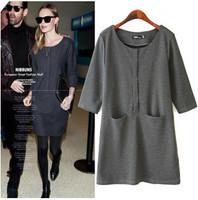European Popular Fashion Girl Pockets Dress 2 Colors Three Quarter Sleeve Women Casual Dress for Winter Spring YS93547