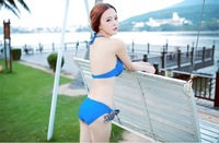 Sexy skirt Bikini swimsuit steel support gather small chest Female Swimsuit Dress show thin cover belly 3 piece set swimwear
