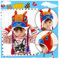 Winter Children Kids Warm Thick Lovely Elk Striped knit Hat Cotton 4 color 6M-4Y