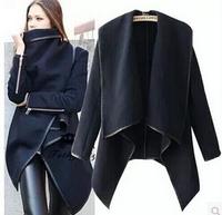 2014 Fashion Autumn Winter Women's Woolen Coat Overcoat Asymmetric Length Slim Trench Desigual femininos Wool & Blends Coat