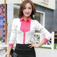 S-XXL 2014 New Fashion Autumn Blusas Casual Hot Women Clothing Tops Blouses Office tassel chiffon long sleeve shirt