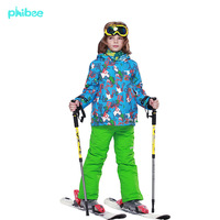 Free Shipping boy's children's ski suit winter clothing set waterproof ski jacket+pants kid's ski suit winter -20-30 DEGREE