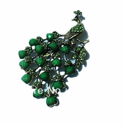 Partido Peacock broche vintage Bronze Banhado Antique cores verde strass e resina cristal Prom Presente Pinos(China (Mainland))