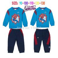 2015 baby boy tracksuit kids fashion sport suit children's sets sleeved spiderman blue t shirt + pants 5pcs/lot clothing set