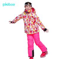 2015 New Arrival Free Shipping girl's ski suit winter clothing set waterproof ski jacket+pants Russian winter -20-30 DEGREE