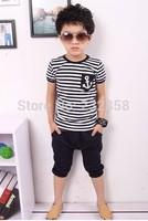 The new 2014 Summer suit Boys Striped short sleeved pants suit + children summer cotton T-shirt