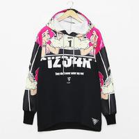 HOT! 2014 Harajuku Street Fashion Spoof Princess Space Doodle Print Loose Fleece Hooded Sweatshirts Hip Hop Hoodies Y-1337