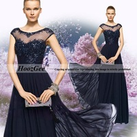 2015 New Fashion With Stars Of The Same Style Navy Blue Evening Dress Straight Perspective Host Dress Banquet Events Dress 500