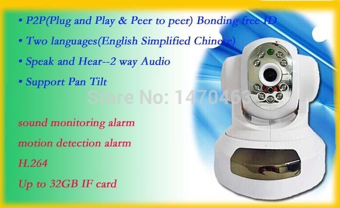 Wireless Ip Camera H.264/JPEG Robot 720P HD IMP CCTV PTZ Motion Alarm P2P WIFI/RJ45 IR-CUT Security ios&android Free Shipping(China (Mainland))