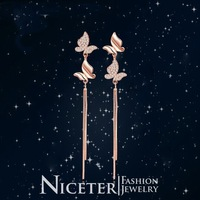 NICETER Graceful Style Small Butterfly Mirco Austria Crystal Long Drop Earrings For Women Wedding Jewelry and Wholesale