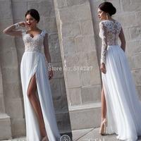 2015 Vestido De Noiva Sweetheart Long Sleeves Lace Appliques Long High Split Chiffon Wedding Dresses Brides Dress For Weddings