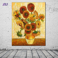 Top Quality Thick Textured Van Gogh Famous Sunflower Oil Painting Wall Art Top Home Decoration Canvas Art  Any Sizes Accepted