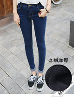 free shipping 808 plus velvet thickening jeans  trousers slim elastic women's pencil skinny pants